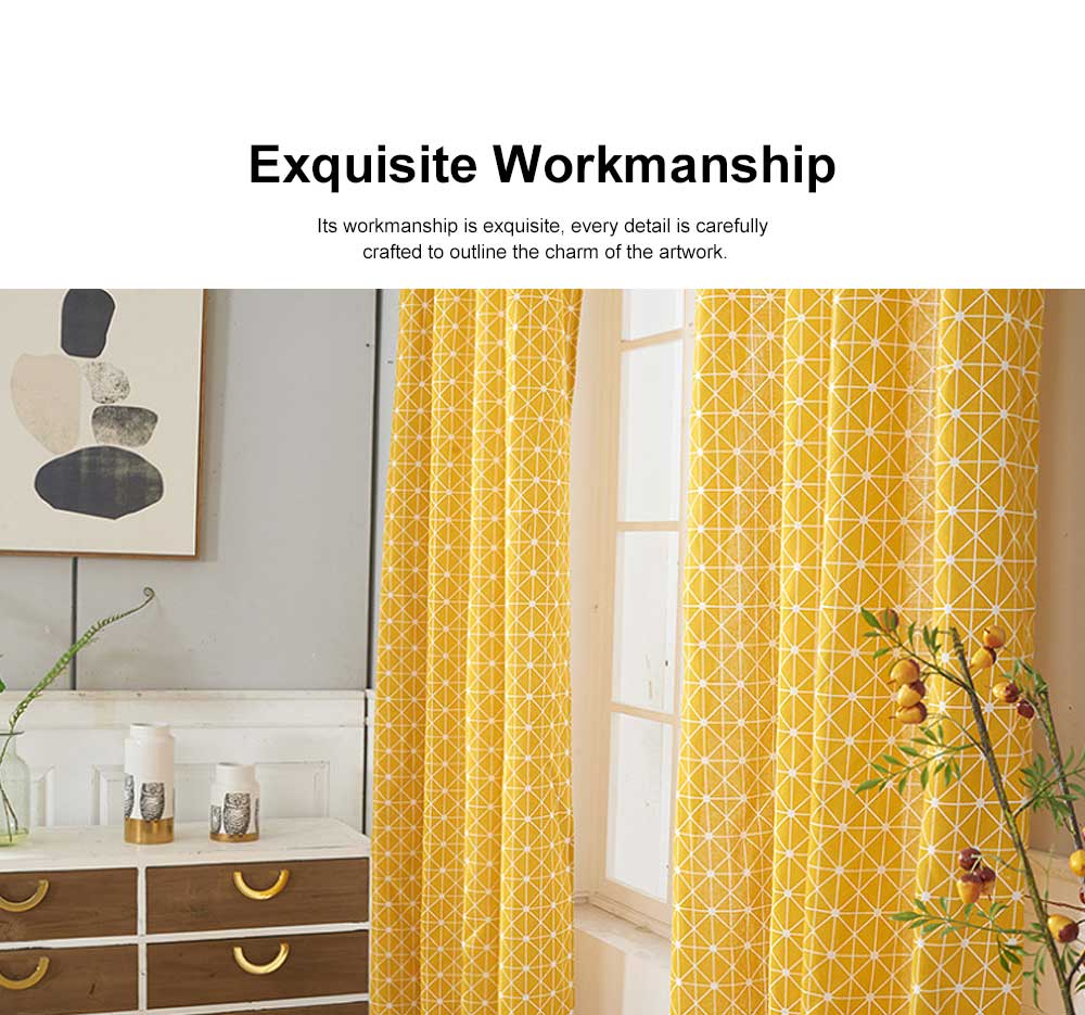 Yellow Checkerboard Plaid Half Shade Small Curtain, Nordic Curtains for Living Room, Bedroom, Cotton and Linen Printing Curtain 5