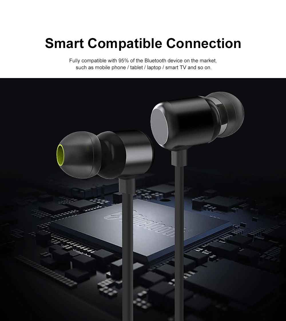 Magnetic Switch Wireless Bluetooth Earphone Headphones In-ear Neckband Headset Sports Supplies For iPhone Samsung 3