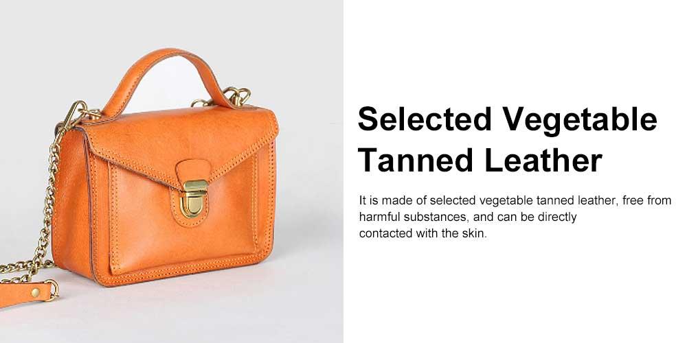 Ladies Retro Shoulder Bag, Vegetable Tanned Leather Diagonal Small Square Bag, with Texture Hardware Lock 1