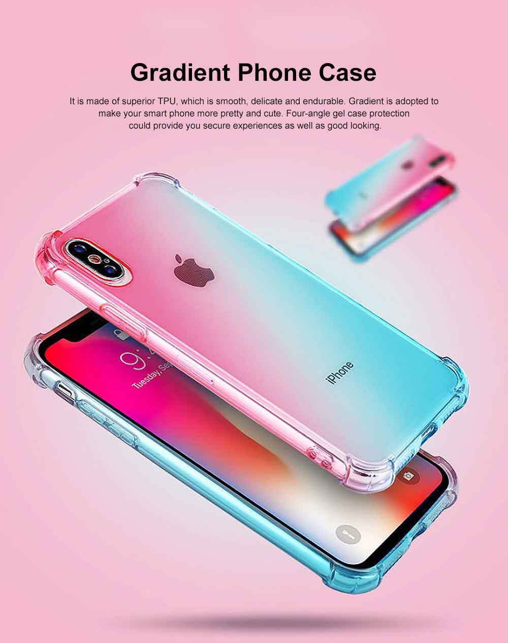 Gradient Phone Case, Ultrathin Soft TPU Case Cover with Bumper, Four-angle Gel Case Protection, Minimalist Phone Case for iPhone 0