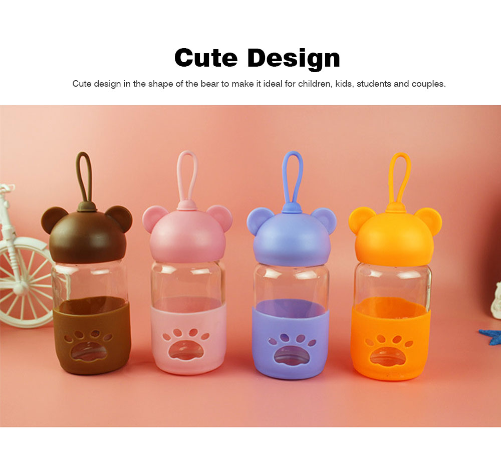 Cute Glass Water Bottle for Children, Kids, Students, Drinking Bottle for Couples 4