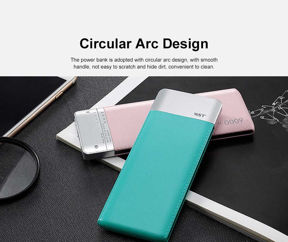 Ultra-thin Fresh Style Contrast Color Simulation Leather 6000mAh Portable External Battery Charger USB Power Bank for Cell Phone 2