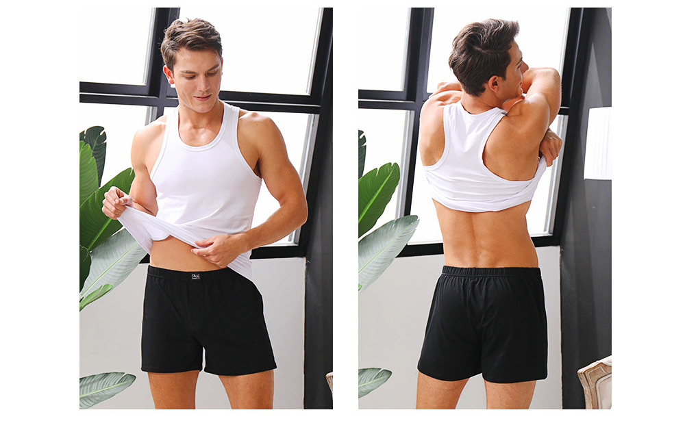 Cotton and Spandex Pajama for Men Comfortable Slippy Material Pure Cotton Tank Top and Modal Shorts Loose Sleepwear Set for Summer and Spring 12