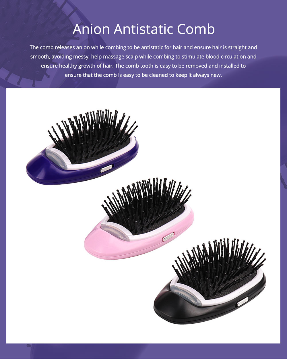 Anion Antistatic Comb for Straight and Curled Hair Combing Portable Message Comb Antistatic Comb Shaking Comb Hairdressing Tools 0