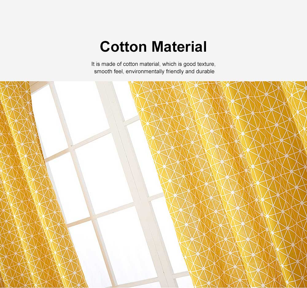 Yellow Checkerboard Plaid Half Shade Small Curtain, Nordic Curtains for Living Room, Bedroom, Cotton and Linen Printing Curtain 2