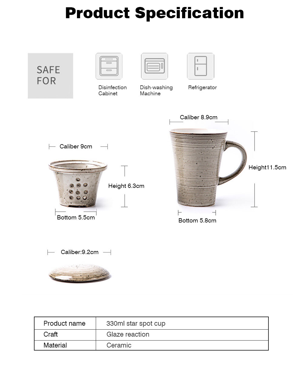 Ceramic Mug Cup with Filter Steepe Ideal for Office, Home, Glazed Mug Cup with Lid for Tea, Coffee, Porcelain Water Mug Cup 330ml 8
