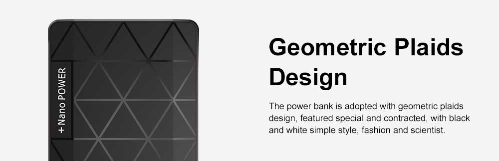 Chic Geometric Black White Ultra-thin 5000mAh Portable External Battery Charger USB Socket Power Bank for Cell Phone 1