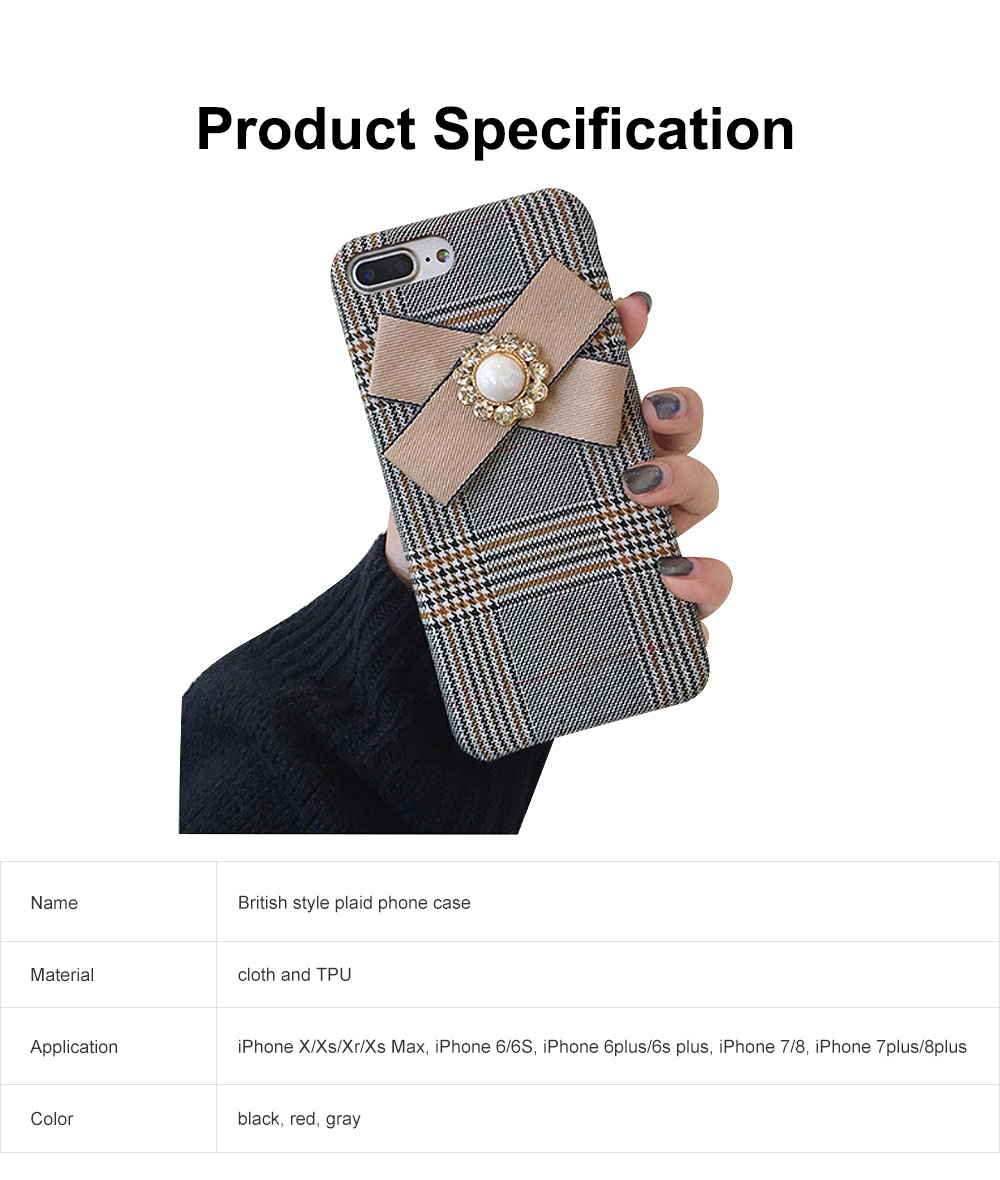 British Style Phone Case, Grain Case Cover with Bow, Luxury Ultra Soft Plaid Phone Case, Apply for iPhone, Oppo 6