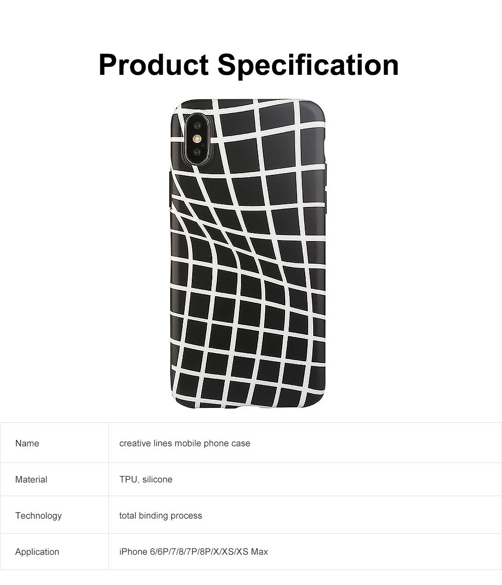 Creative Lines Mobile Phone Case, Grid Sanded Case Cover for iPhone, Luxury Soft Thin TPU Case, Minimalist Style 6