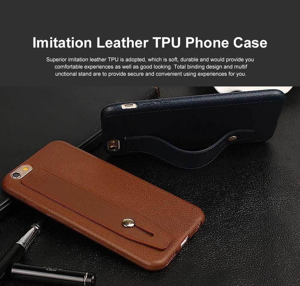 Imitation Leather TPU Phone Case, Soft Case Cover with Multifunctional Stand, Total Binding Business Phone Case for iPhone 0