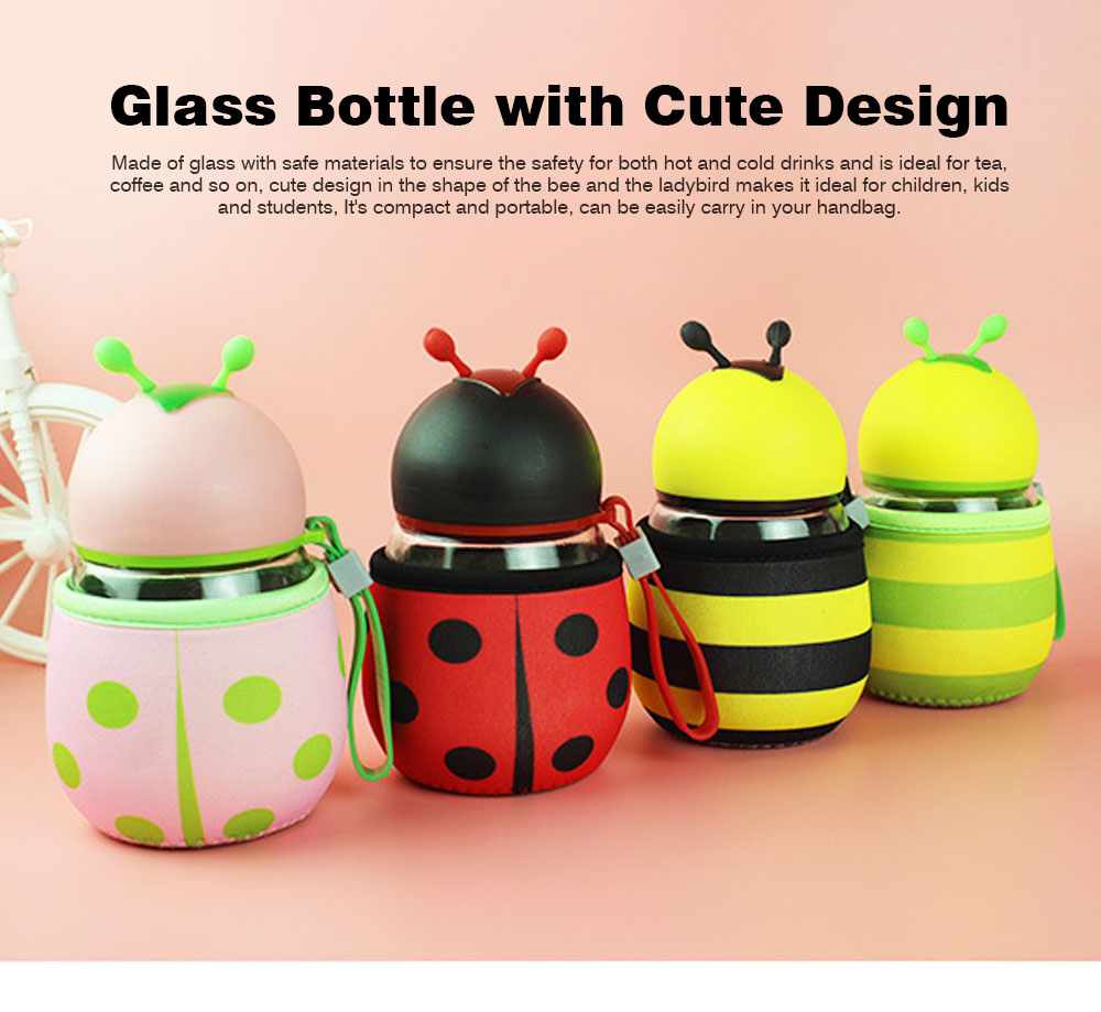 Cute Creative Drinking Bottle for Children, Kids, Students, Glass Water Bottle Ideal as Gifts, Presents, Promotions, Advertisements 0