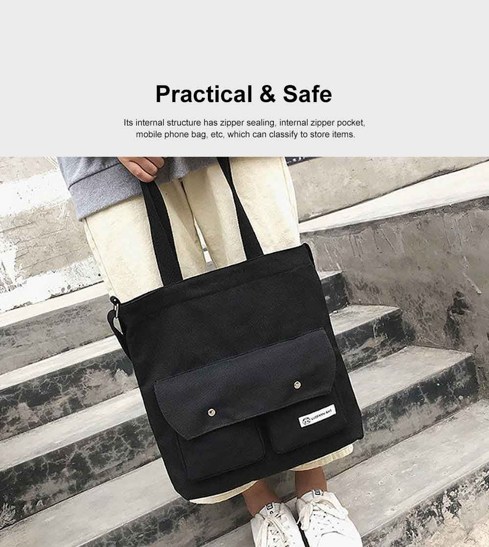 Literary Small Fresh Style Thickened Canvas Shoulder Bag, Fashion Female Student Messenger Bag 5