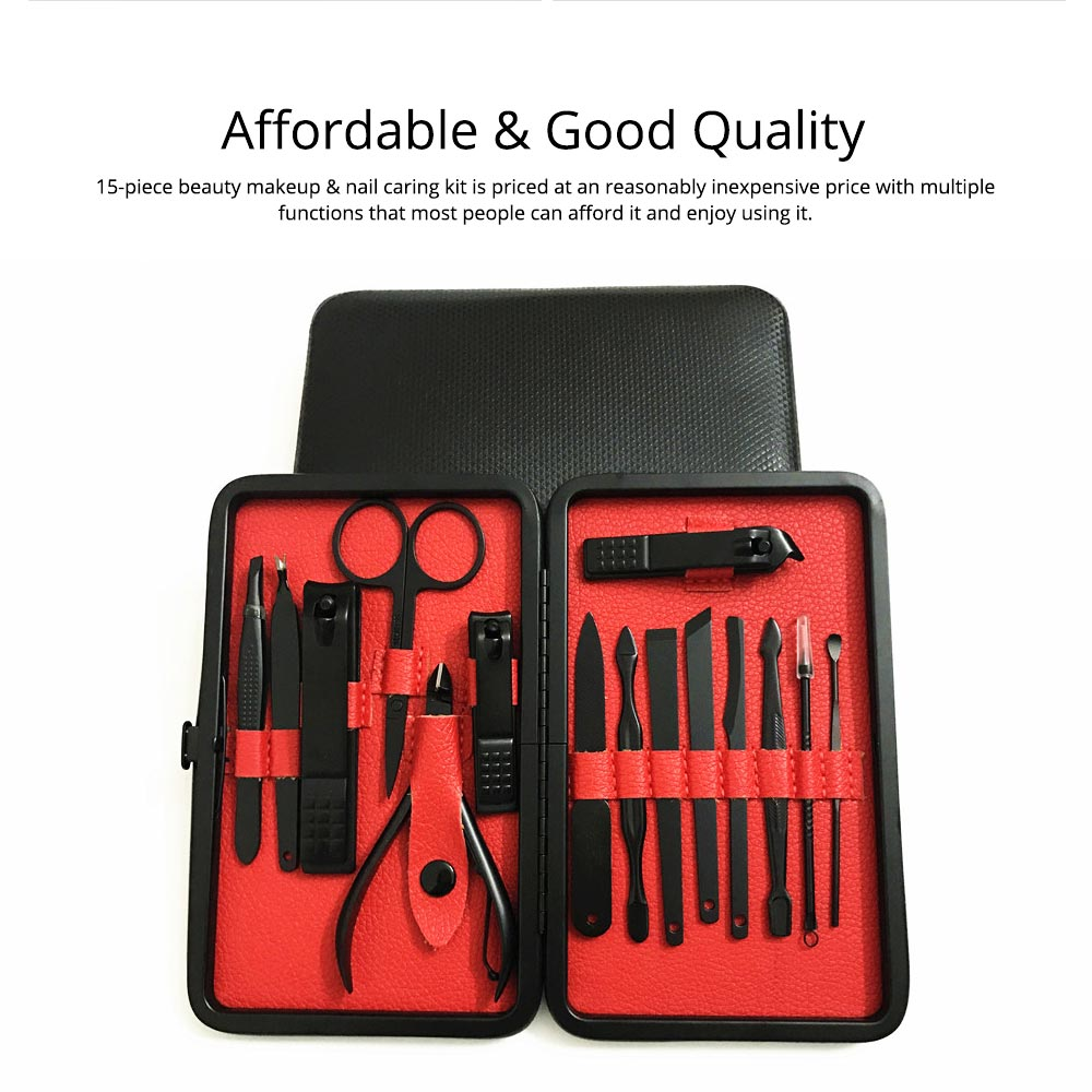 Stainless Steel Tools for Beauty Makeup and Nail Caring Household Beauty Makeup and Nail Caring Kit Nail Clippers Kit Eyebrow Trimmer etc Family Used 15-piece Kit 6