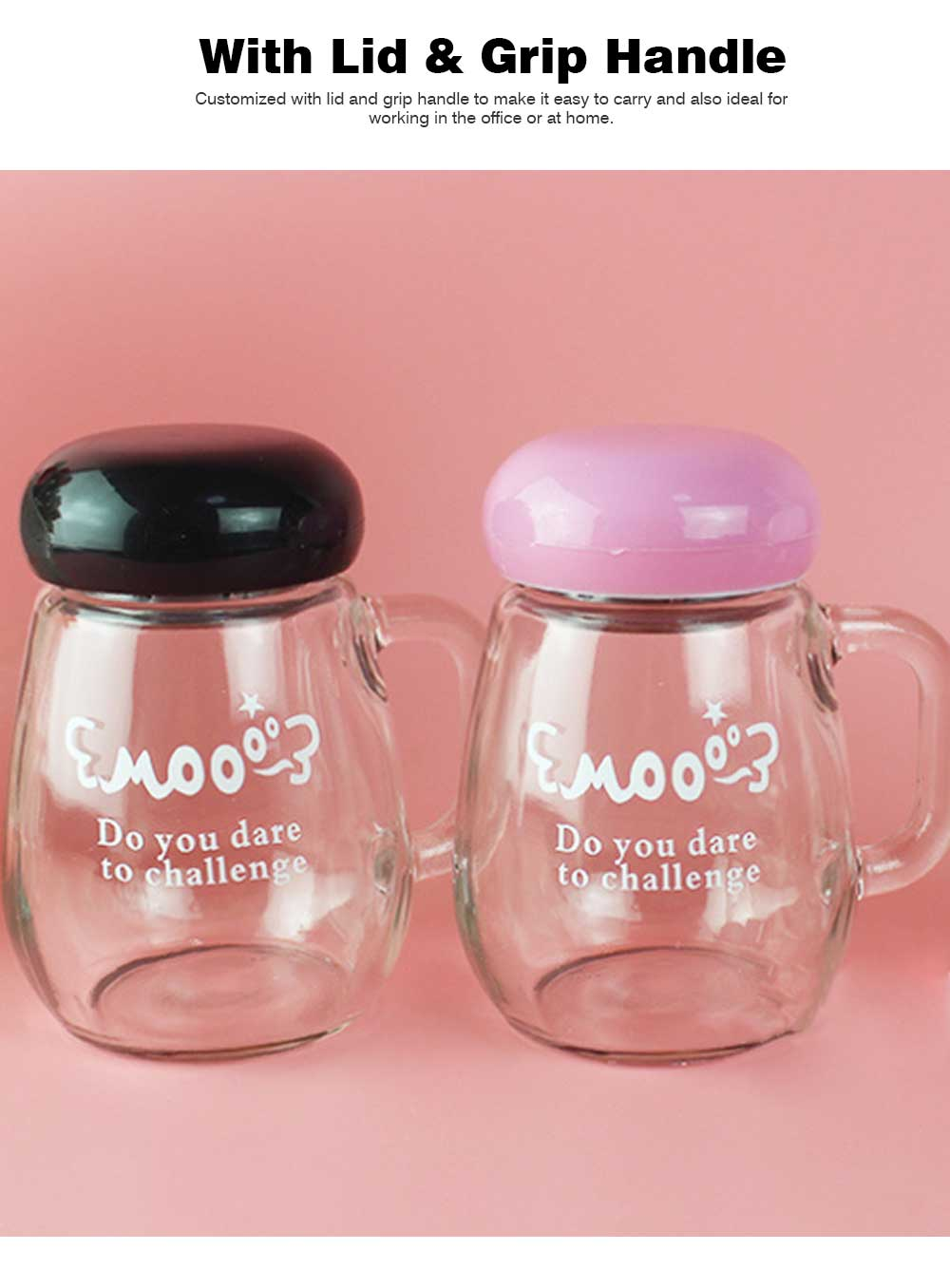 Glass Cup with Grip Handle, Cute Design Ideal for Students, Women,Girls, School Office Home Essential Glass Mug with Lid 2