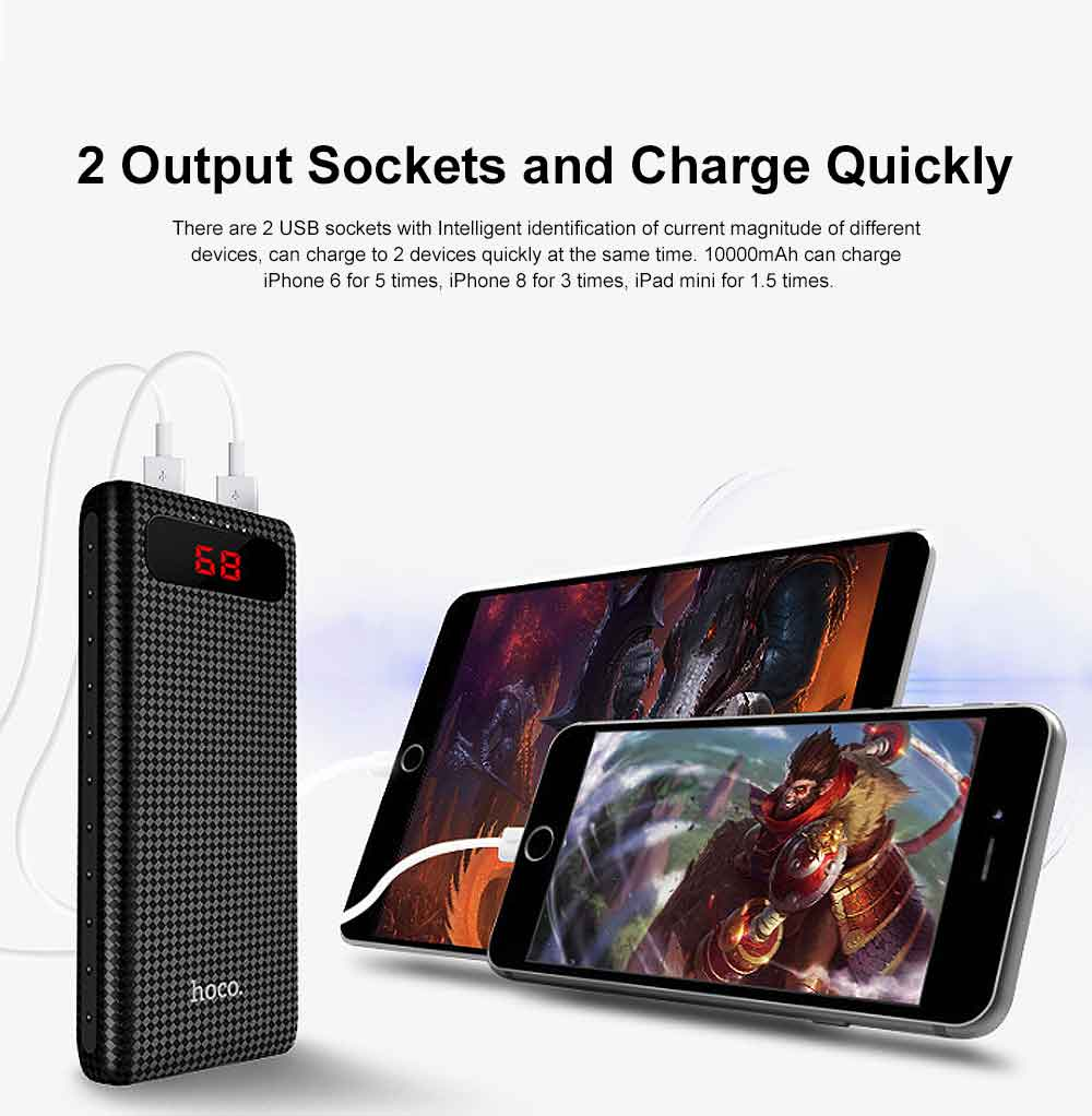 Exquisite Mini Pocket Carbon Fiber Plaids External Battery Fireproof ABS Charger Dual USB Power Bank for Cell Phone 10000mAh with LED Lamp 7
