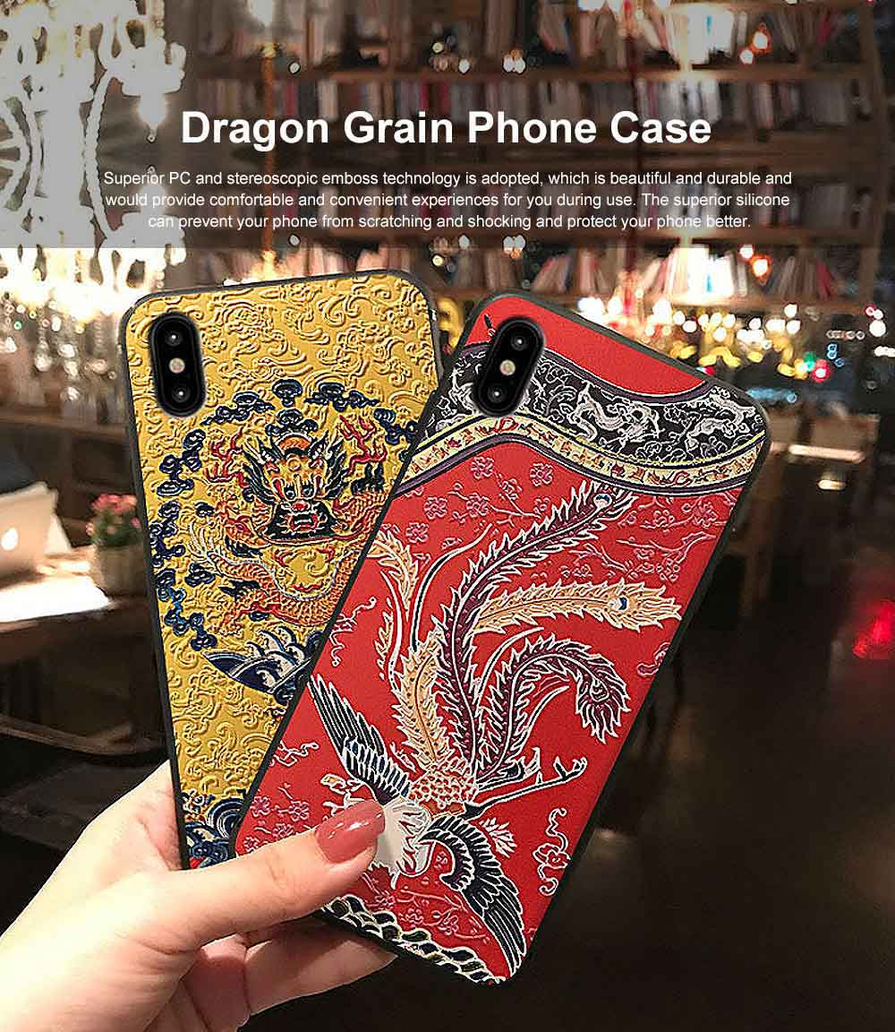 Dragon Grain Phone Case, Place Style Case Cover, Black Frosted Mobile Phone Case, Story of Yanxi Place, Emboss iPhone Case Cover 0