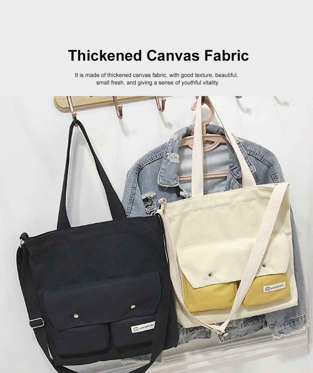 Literary Small Fresh Style Thickened Canvas Shoulder Bag, Fashion Female Student Messenger Bag 1