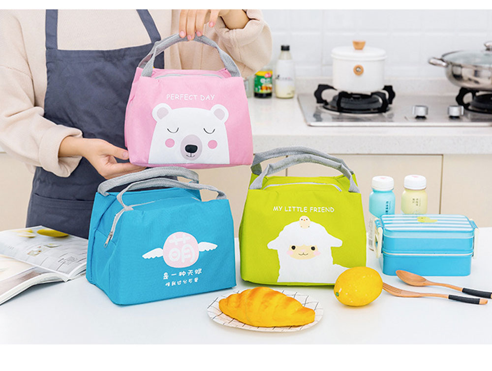Cartoon Insulated Lunch Bag with Zipper, Small Size Cooler Bag Lunch Container for Outdoor Activities, School, Students, Children, Waterproof Lunch Tote Bag 7