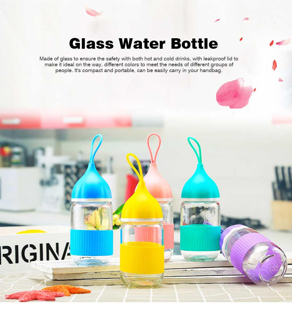 Colorful Glass Drinking Bottle for Students, Leakproof Botttle with Silicone Handle 0