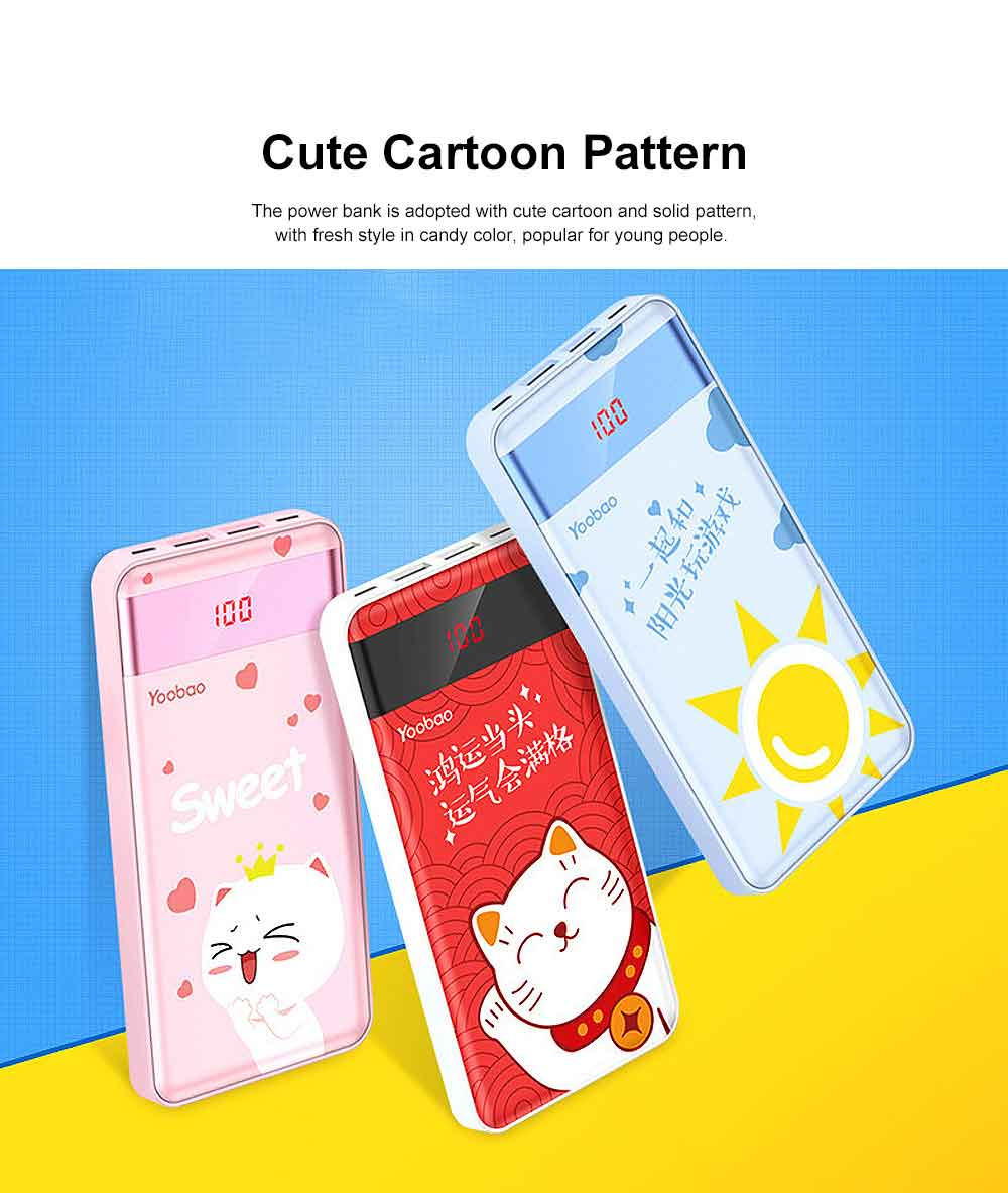 Cute Cartoon Slim Power Bank Digital Display Portable External Battery Colorful Charger Fast Charging for Cell Phone 10000mAh 1