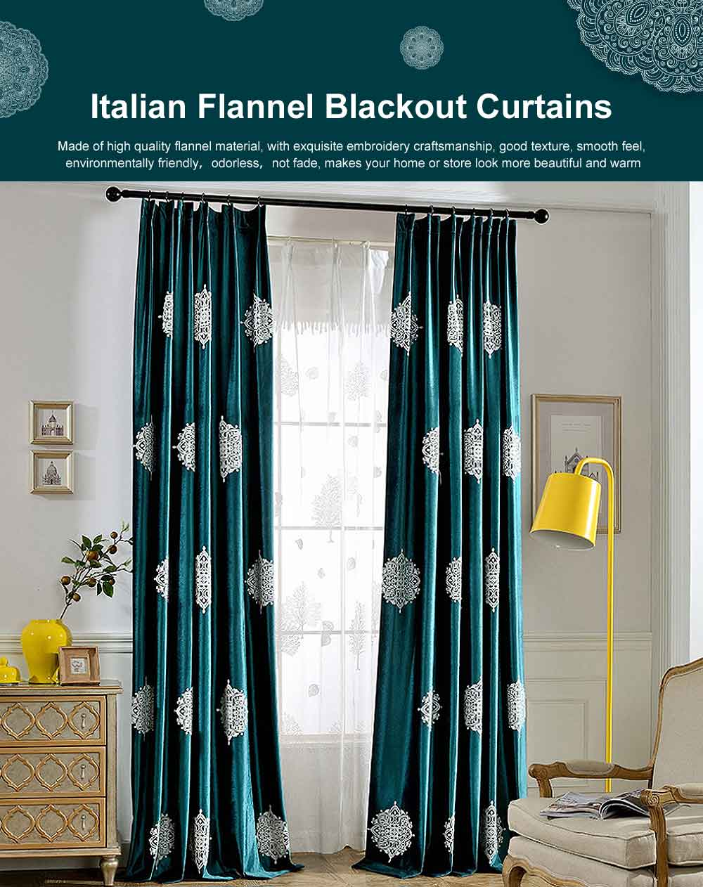 Fresh Dark Green Curtains, Blackout Curtains for Living Room, Bedroom, Italian Flannel Blackout Curtains 0
