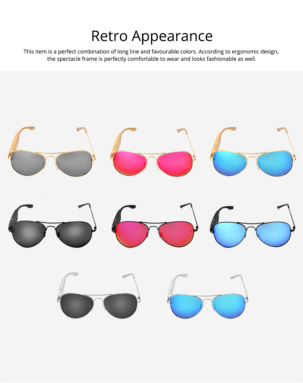 Smart Earphones Bluetooth 4.1 Version Polarized Sunglasses for Music, Broadcast and Phone Calls Long Distance Wireless Connected Smart Earphone 6