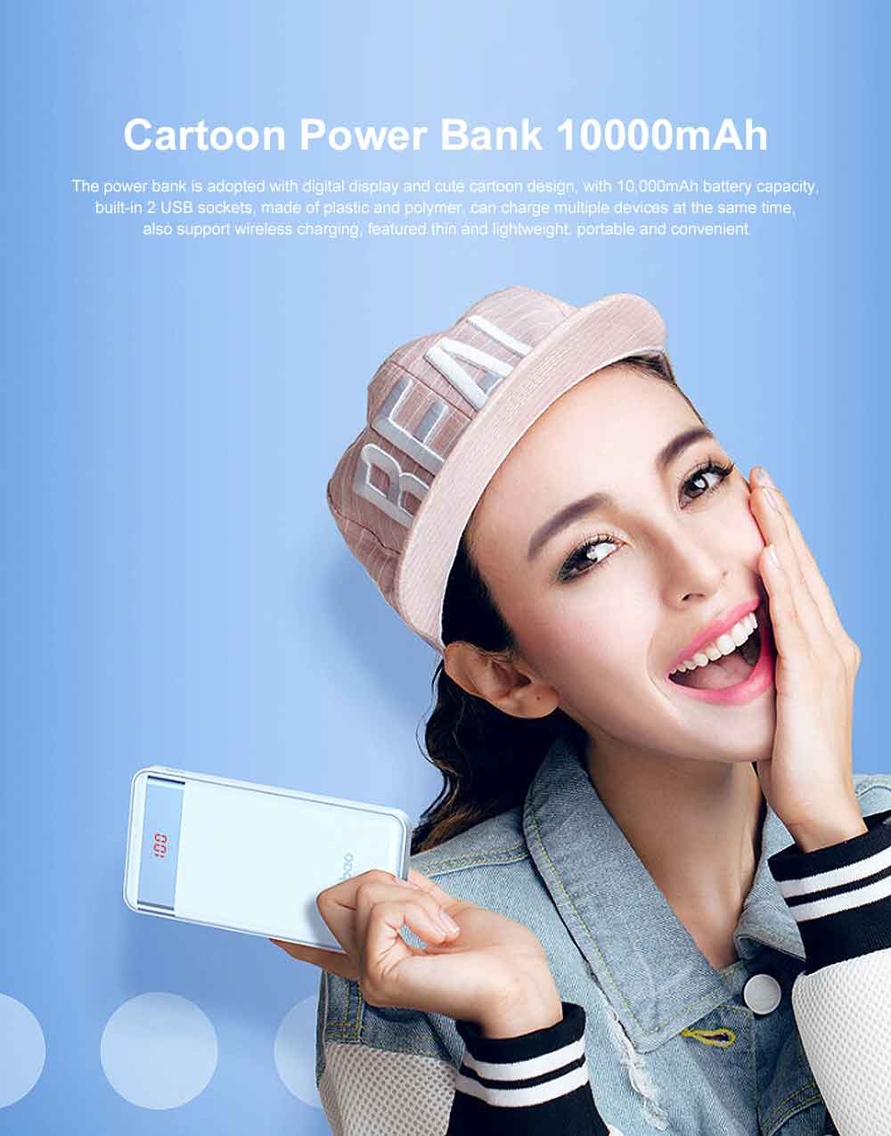 Cute Cartoon Slim Power Bank Digital Display Portable External Battery Colorful Charger Fast Charging for Cell Phone 10000mAh 0