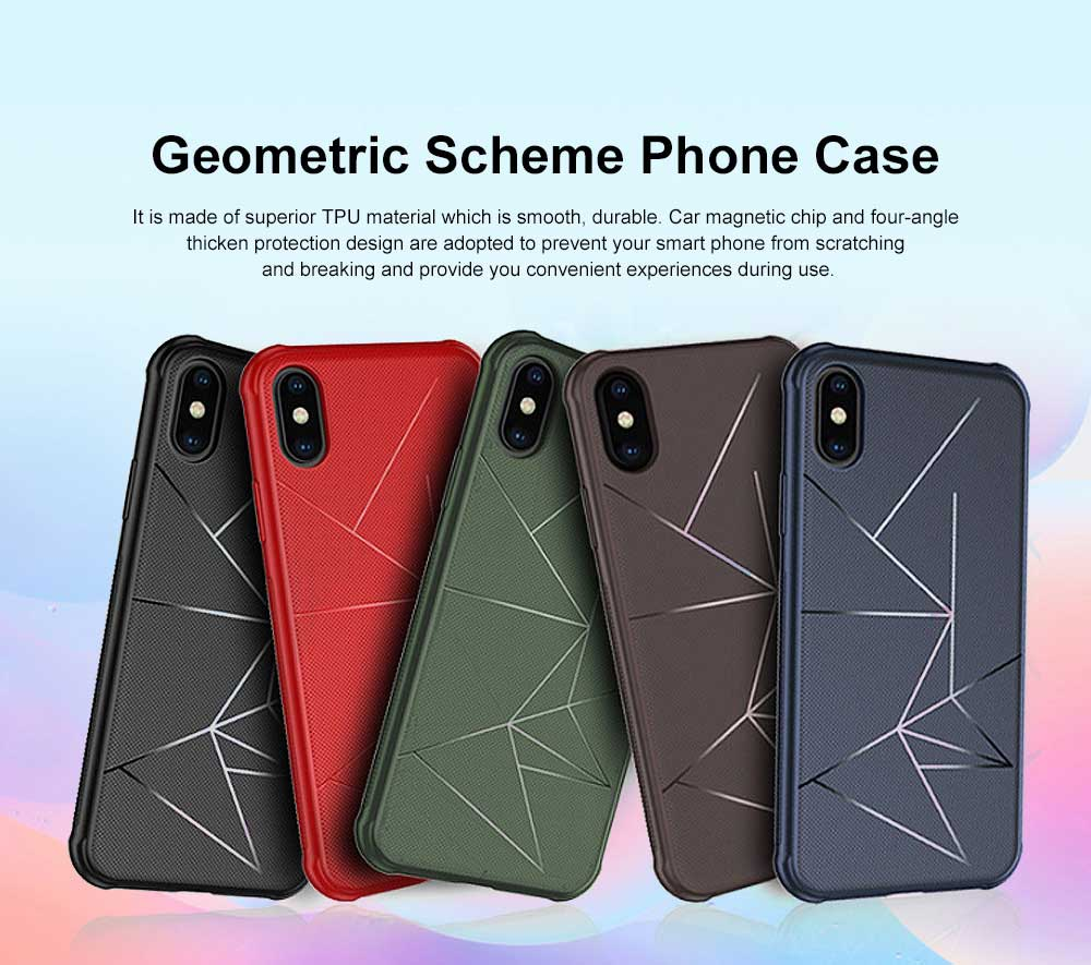 Geometric Scheme Phone Case, Magnetic Car Holder TPU Phone Case, Four-angle Thicken Protection, Minimalist Phone Case for iPhone and Samsung 0