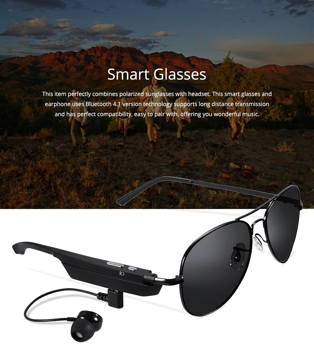 Smart Earphones Bluetooth 4.1 Version Polarized Sunglasses for Music, Broadcast and Phone Calls Long Distance Wireless Connected Smart Earphone 0