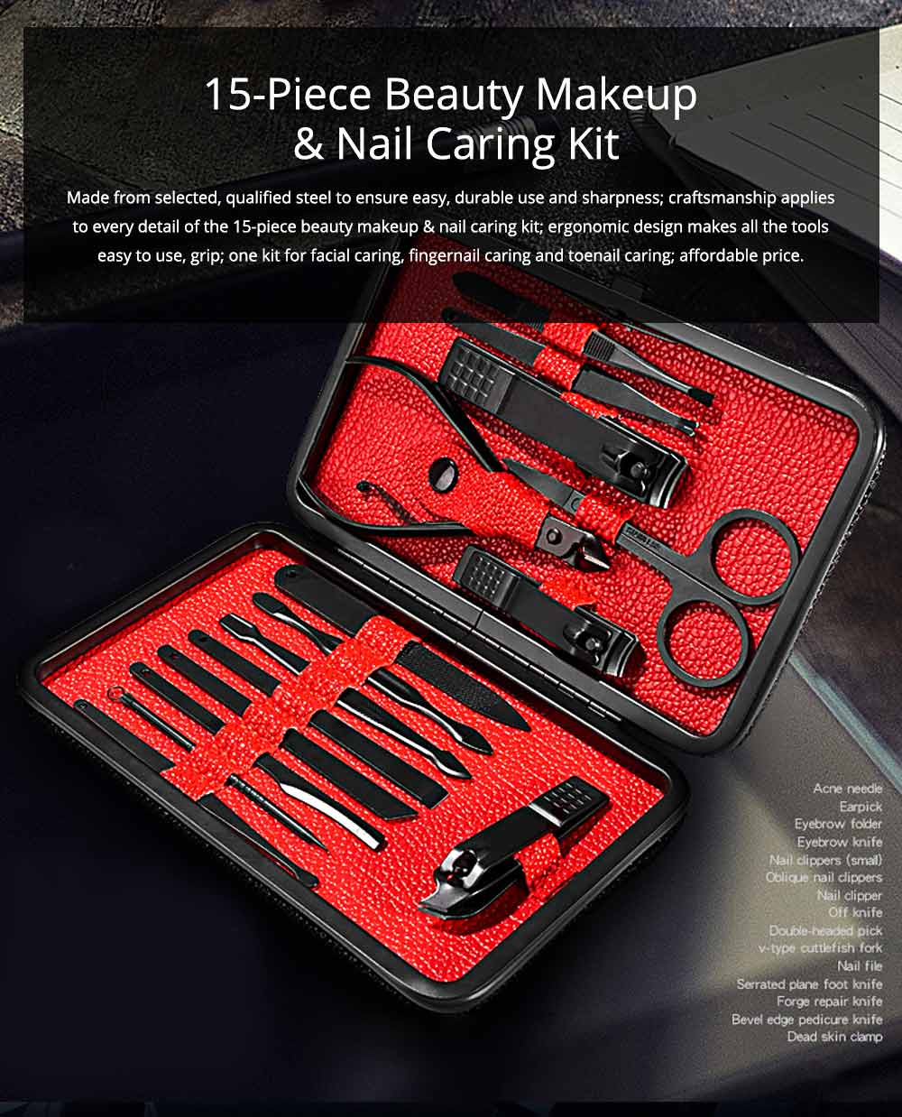 Stainless Steel Tools for Beauty Makeup and Nail Caring Household Beauty Makeup and Nail Caring Kit Nail Clippers Kit Eyebrow Trimmer etc Family Used 15-piece Kit 0