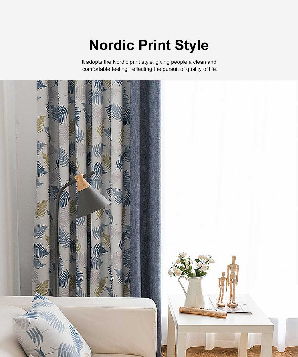 Rice Grain Printed Blackout Curtain, Nordic Wind Stitching Curtains for Living Room, Bedroom, High Quality Cloth Curtains 2