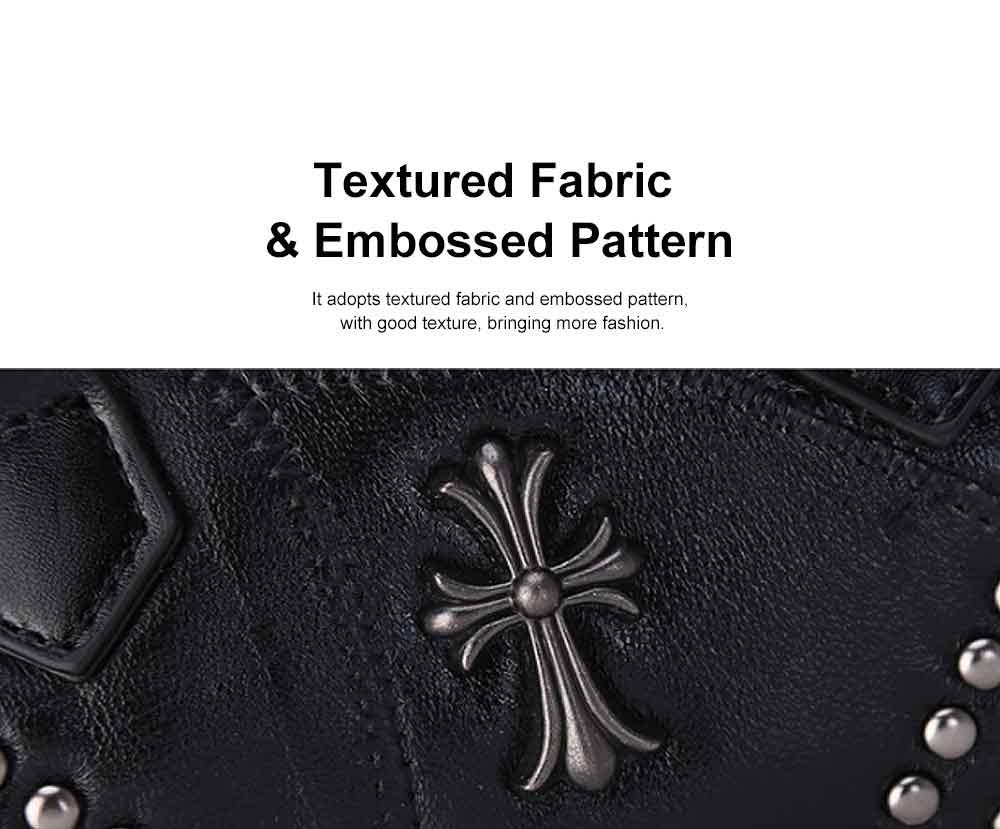 Sheepskin Small Square Bag, Fashion Round Hardware Rivets Shoulder Messenger Bag 1