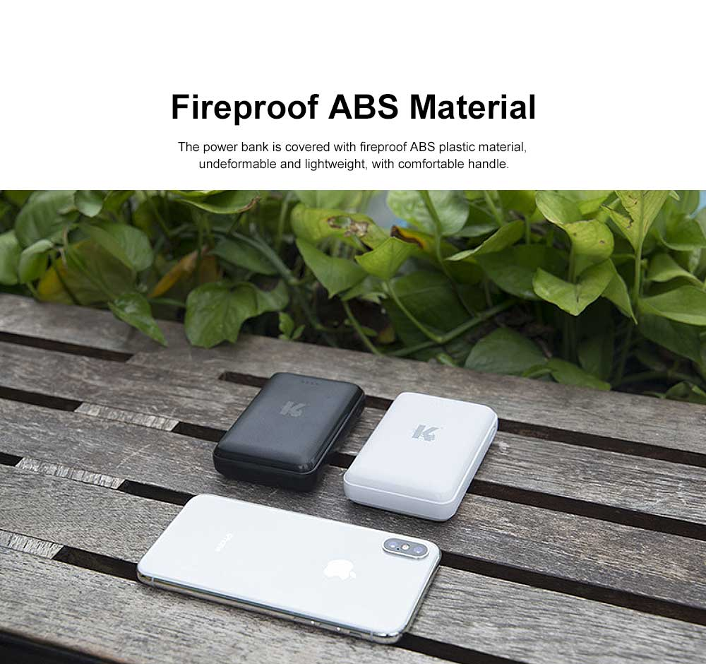 Exquisite Mini Black White Pocket External Battery Fireproof ABS Charger USB Power Bank for Cell Phone 10000mAh 5