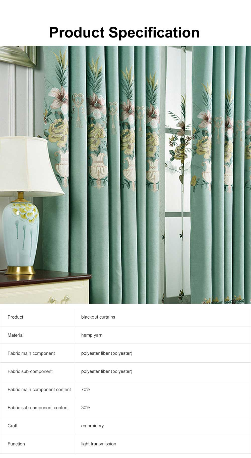 Modern Minimalist Curtains, Household Blackout Curtains for Living Room, Bedroom Chenille Floor Window Curtains 6
