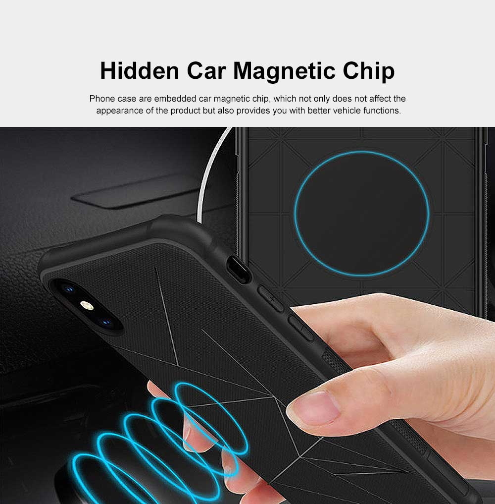 Geometric Scheme Phone Case, Magnetic Car Holder TPU Phone Case, Four-angle Thicken Protection, Minimalist Phone Case for iPhone and Samsung 2