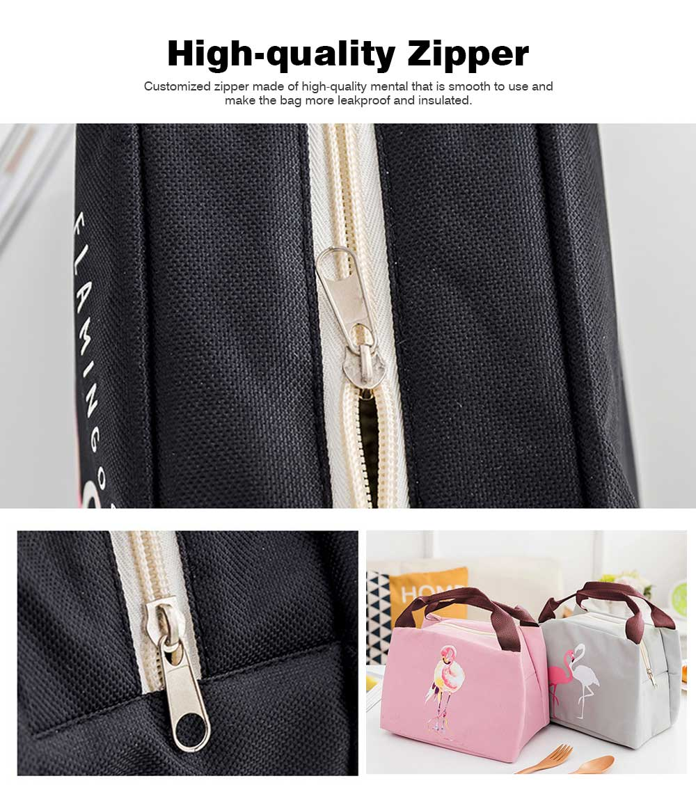 Cartoon Insulated Lunch Bag with Zipper, Cooler Bag Lunch Container for Outdoor Activities, School, Adults, Children, Waterproof Lunch Tote 5
