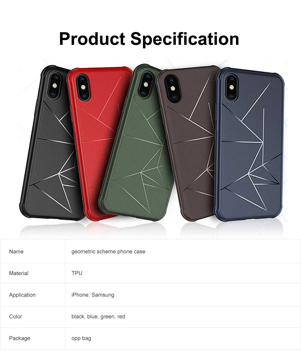 Geometric Scheme Phone Case, Magnetic Car Holder TPU Phone Case, Four-angle Thicken Protection, Minimalist Phone Case for iPhone and Samsung 6