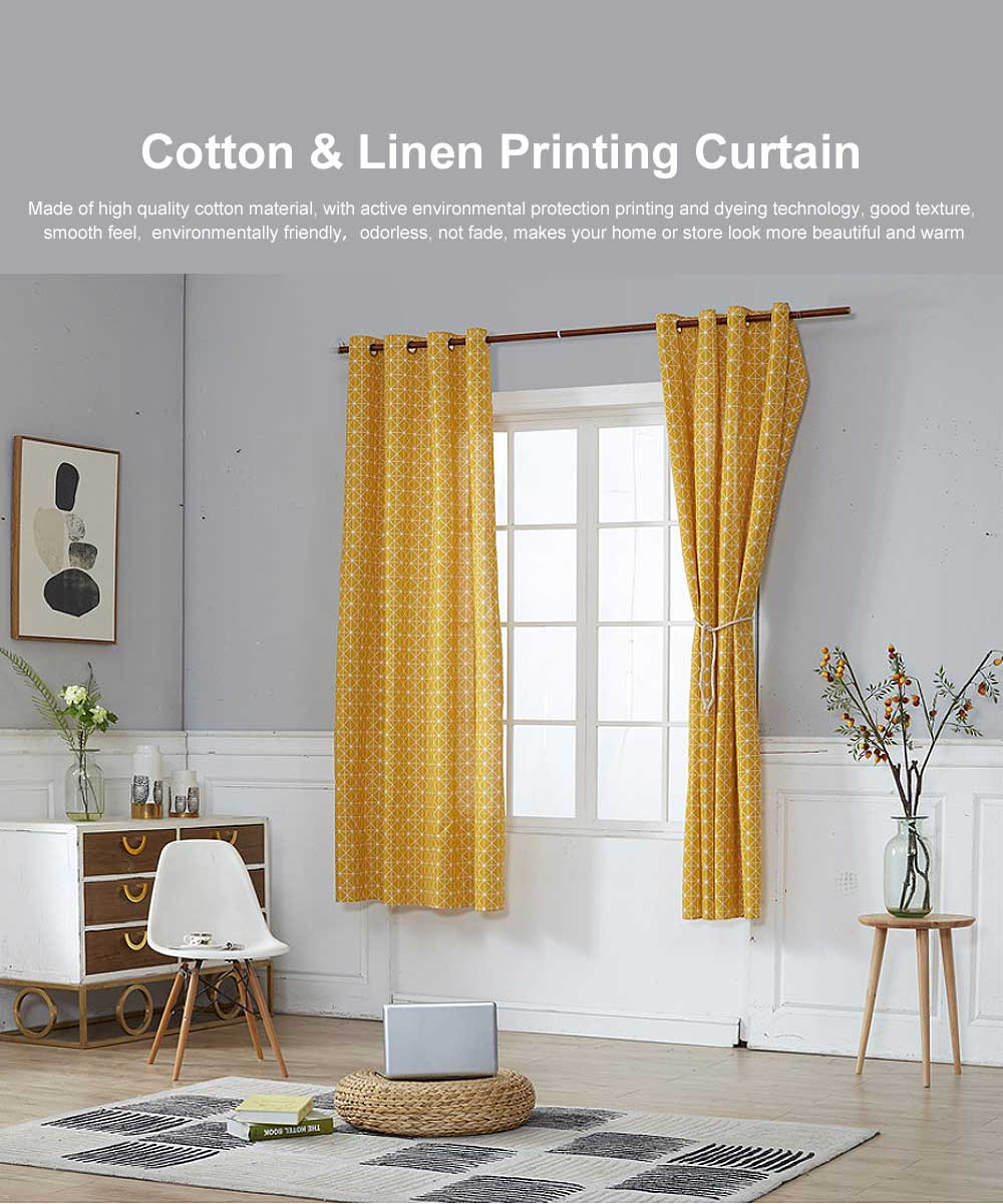 Yellow Checkerboard Plaid Half Shade Small Curtain, Nordic Curtains for Living Room, Bedroom, Cotton and Linen Printing Curtain 0