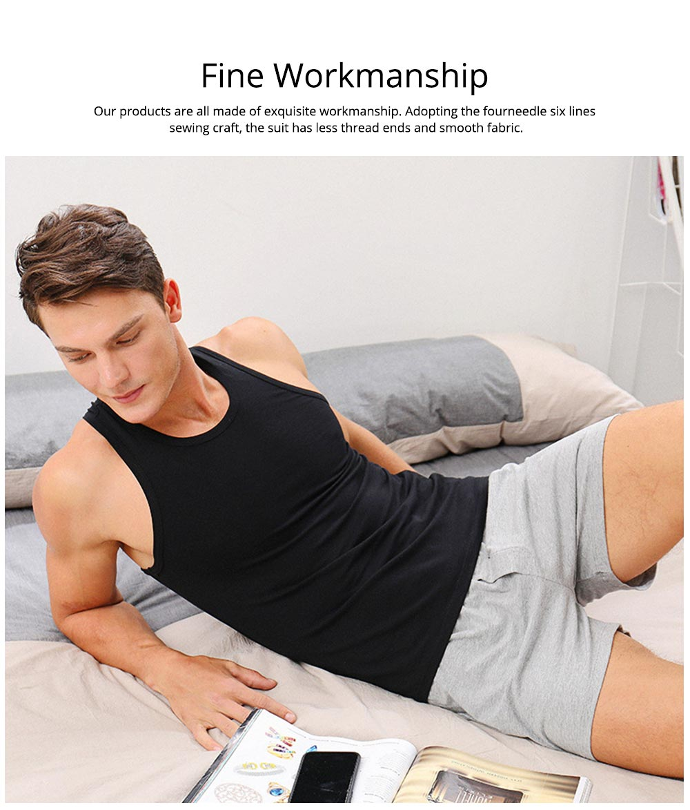 Cotton and Spandex Pajama for Men Comfortable Slippy Material Pure Cotton Tank Top and Modal Shorts Loose Sleepwear Set for Summer and Spring 6