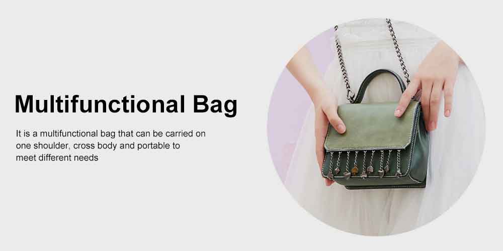Women's Tassel Small Square Bag, Fashion Women Shoulder Bag, with Round Radian Handle Design, Spring and Summer 2019 Crossbody Bag 5