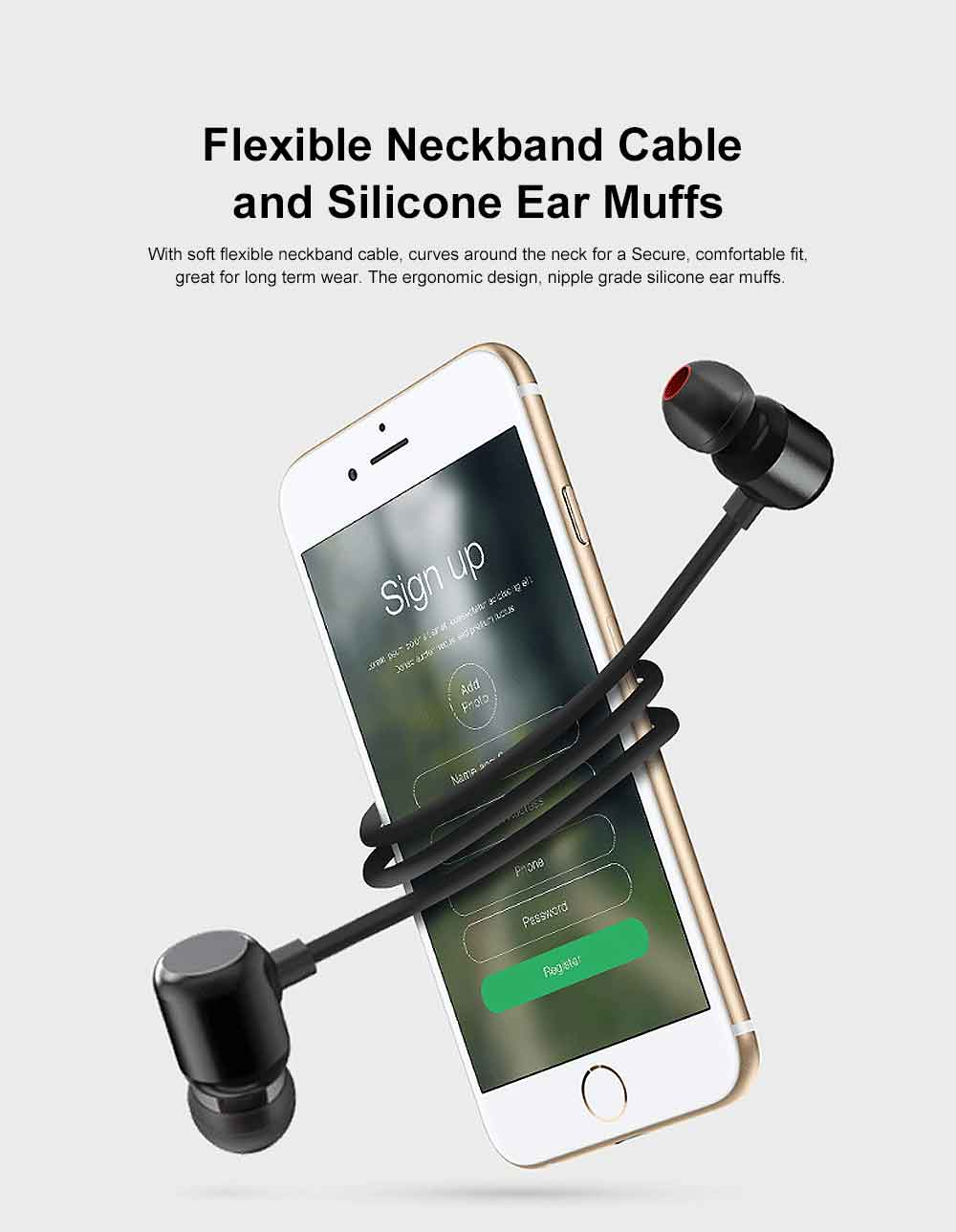 Magnetic Switch Wireless Bluetooth Earphone Headphones In-ear Neckband Headset Sports Supplies For iPhone Samsung 4