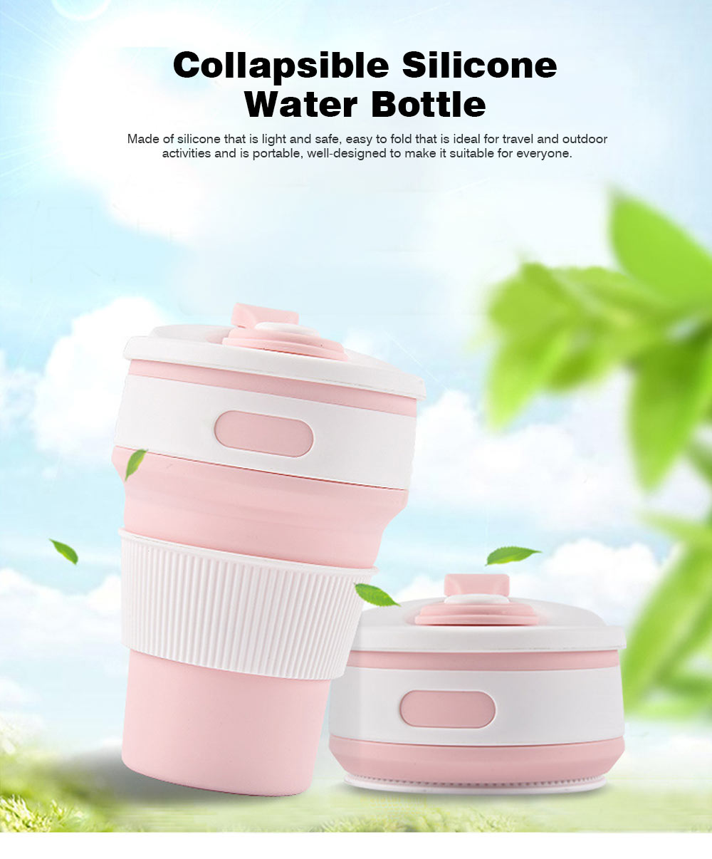 Collapsible Water Bottle Ideal for Outdoor Activities, Silicone Leakproof Water Bottle for Travel 0