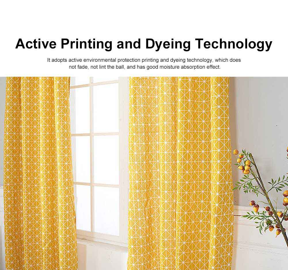 Yellow Checkerboard Plaid Half Shade Small Curtain, Nordic Curtains for Living Room, Bedroom, Cotton and Linen Printing Curtain 1