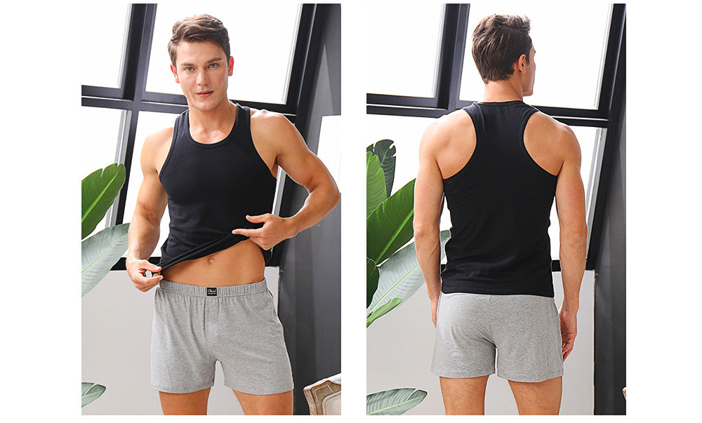 Cotton and Spandex Pajama for Men Comfortable Slippy Material Pure Cotton Tank Top and Modal Shorts Loose Sleepwear Set for Summer and Spring 11