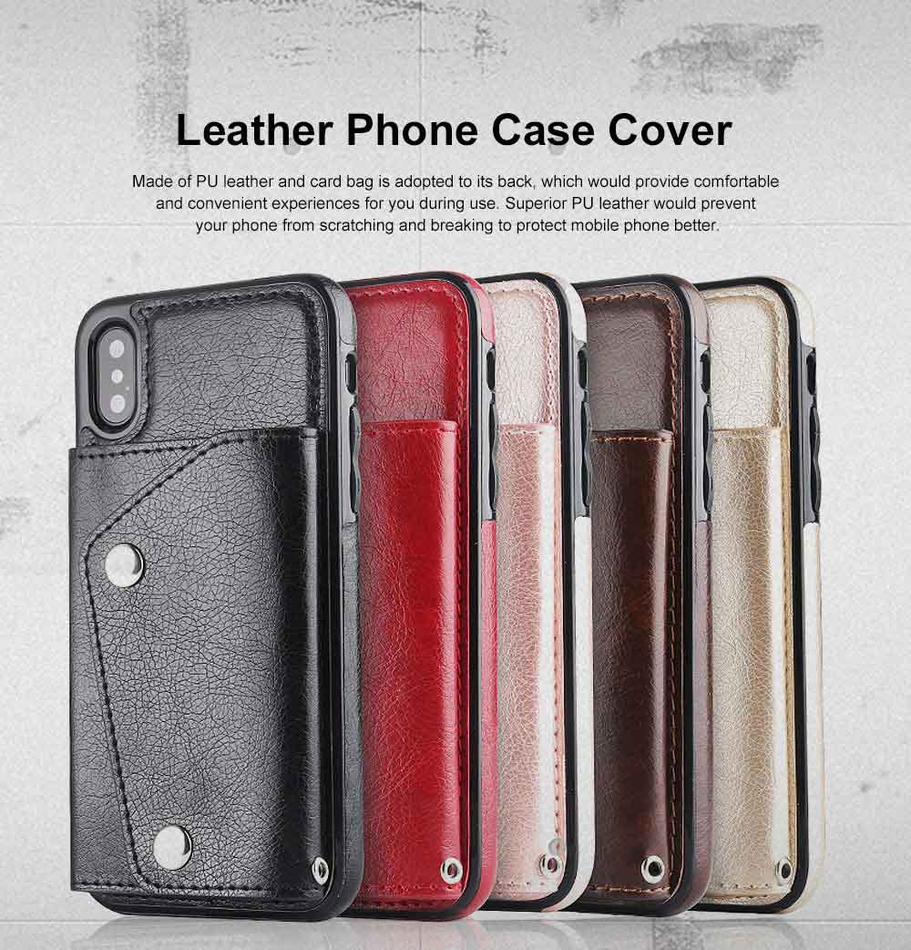 Stylish Leather Phone Case with Card Bag, Wallet, Case Cover Can be Insert Cards, Multifunctional Phone Case for iPhone, Samsung 0