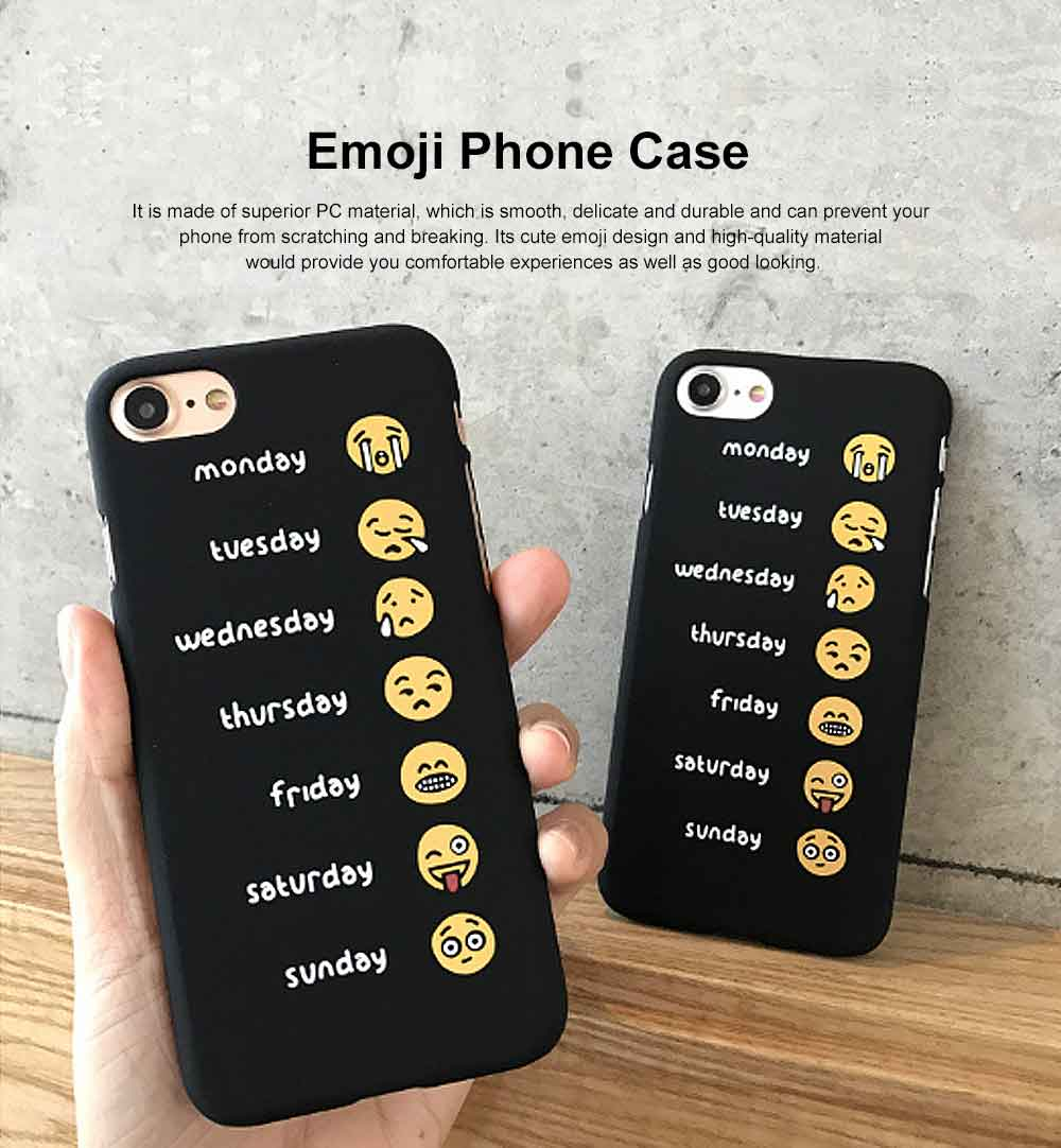 Emoji Phone Case, Cute Weekly List Case Cover, Luxury Smooth Thin Phone Case, PC Hard Case, Creative Case Cover for iPhone 0