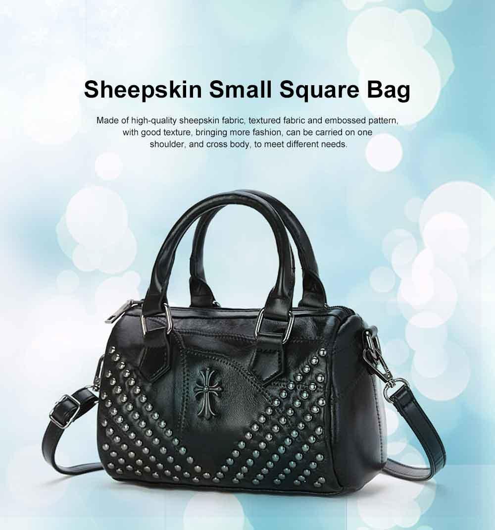 Sheepskin Small Square Bag, Fashion Round Hardware Rivets Shoulder Messenger Bag 0
