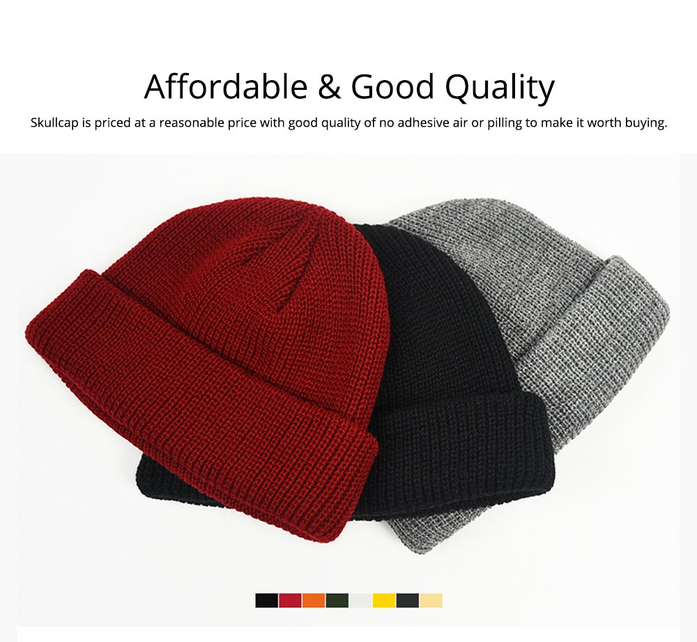 Stylish Winter Skullcap for Male Use of Korean Style Design Knitted Woolen Yarn Hat Fashionable Hip-hop Hat 6