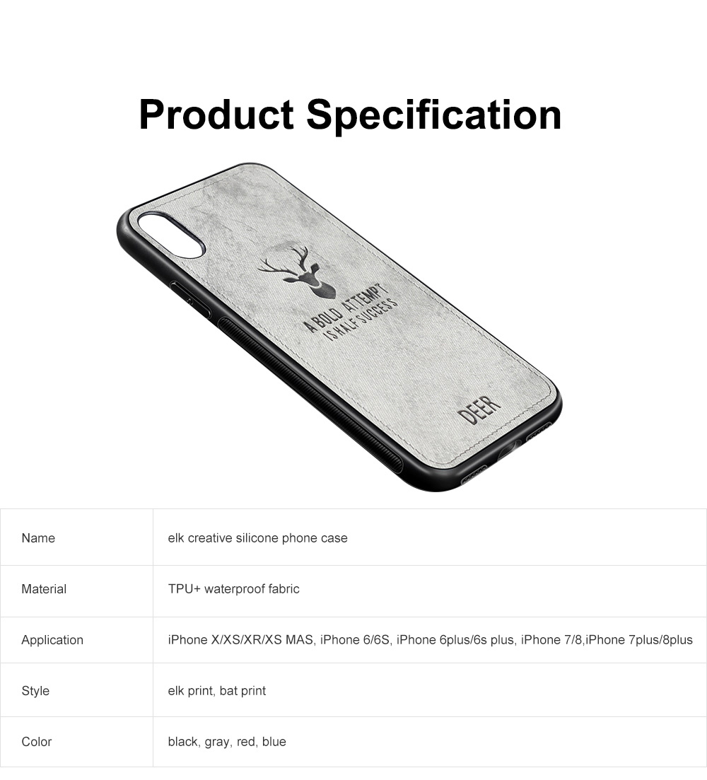 Elk Creative Silicone Phone Case, Creative Case Cover, Characteristic Linen Grain, Soft Silicone Case Cover, Apply for iPhone 6