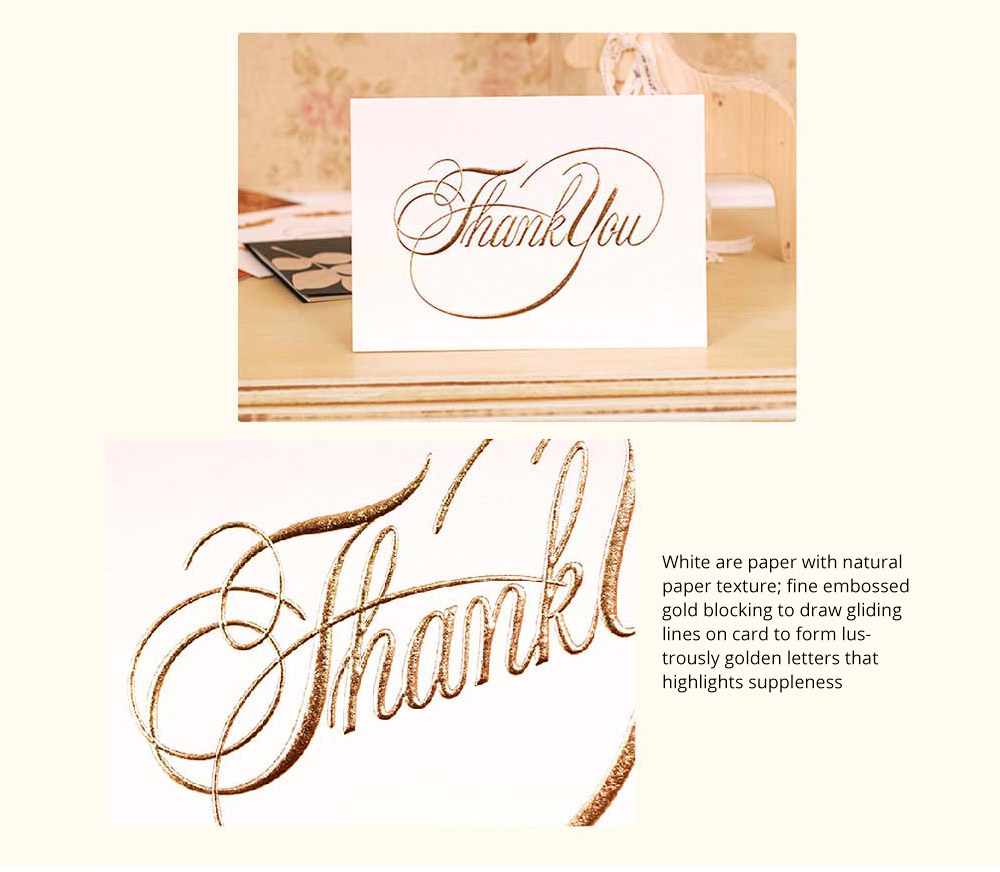 Thank-you Card for Business Purpose Birthday Card Christmas Card Retro Style New Year Card High Art Gold Blocking Thank-you Card 5